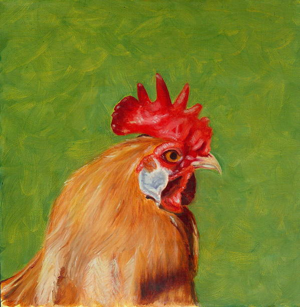 Rooster Art Print featuring the painting The Gladiator by Paula Emery