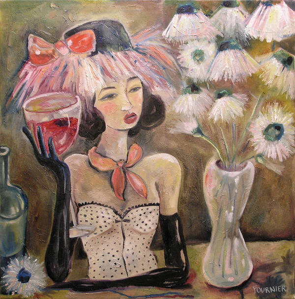 Wine Art Print featuring the painting The Lady In The Flower Hat by Jenna Fournier
