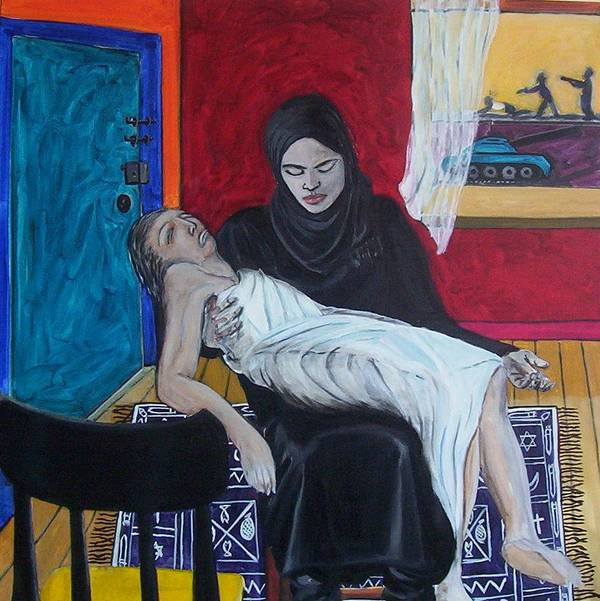 Pieta Art Print featuring the painting The Slutsky Pieta by Erik Slutsky
