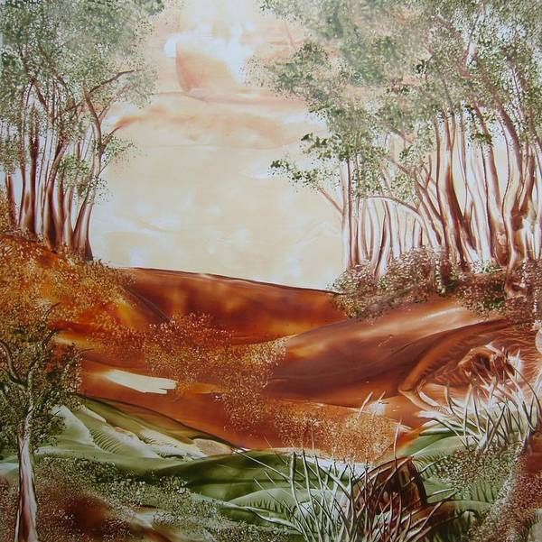 Encaustic Art Print featuring the painting The Wood by Marketa Cejkova