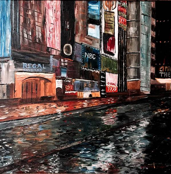 Times Square Art Print featuring the painting Times Square by Joe Christenson