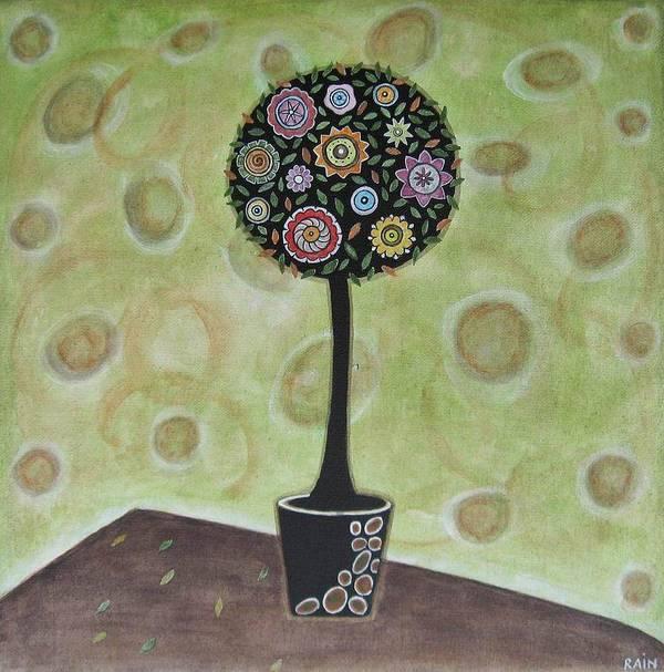 Folk Art Paintings Art Print featuring the painting Topiary 1 by Rain Ririn