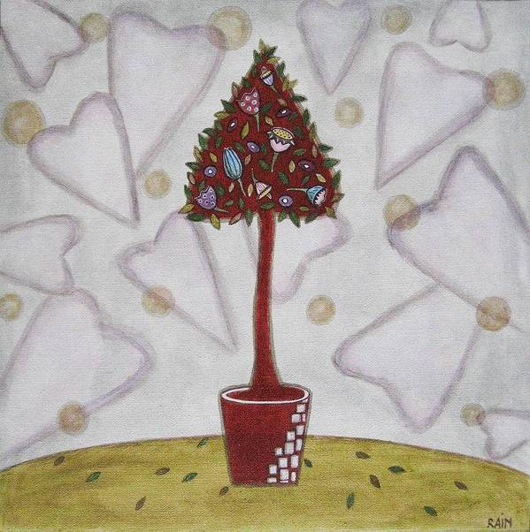 Folk Art Paintings Art Print featuring the painting Topiary 2 by Rain Ririn