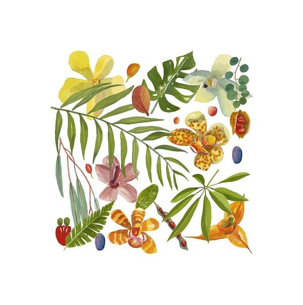 Tropical Art Print featuring the painting Tropical Flora by World Parrot Trust