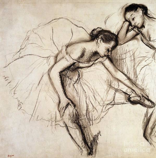 Degas Art Print featuring the drawing Two Dancers Resting by Edgar Degas