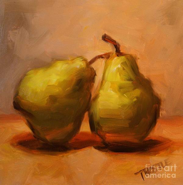 Pears Art Print featuring the painting Two Green Pairs Print Lean On Me by Patti Trostle