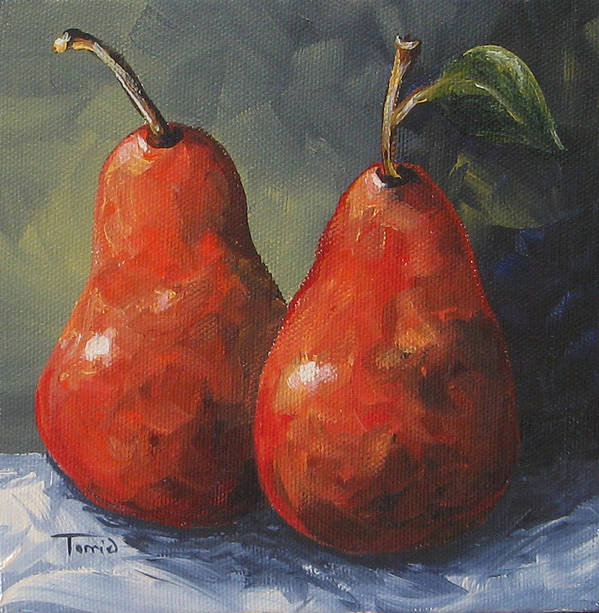 Pear Art Print featuring the painting Two Red Pears II by Torrie Smiley