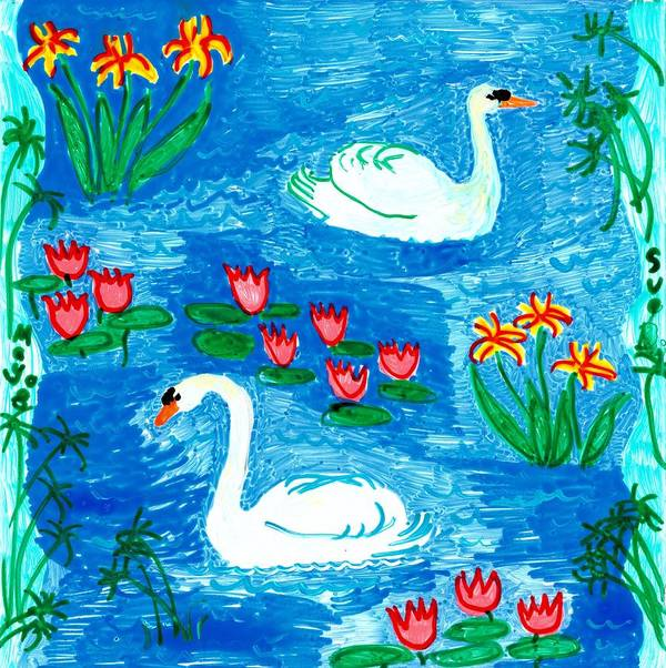 Sue Burgess Art Print featuring the painting Two Swans by Sushila Burgess