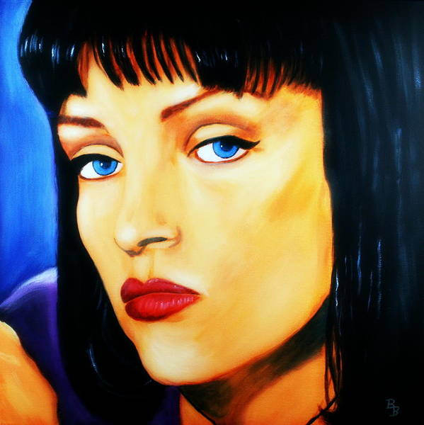 Uma Thurman Art Print Featuring The Painting In Pulp Fiction By Bob Baker
