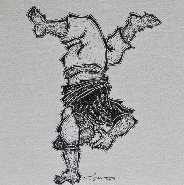 Acrobat Art Print featuring the drawing Upside Down by Raul Agner