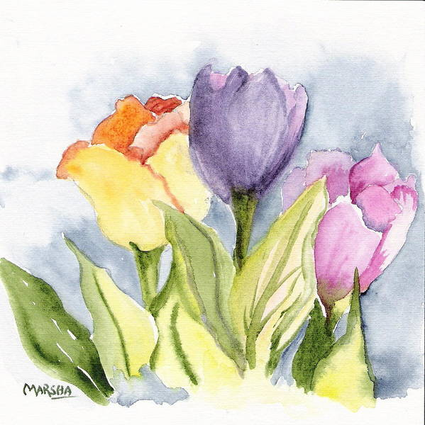 Tulips Flowers Floral Gardens Painting Purple Yellow Pink Art Print featuring the painting Vickis Tulip by Marsha Woods
