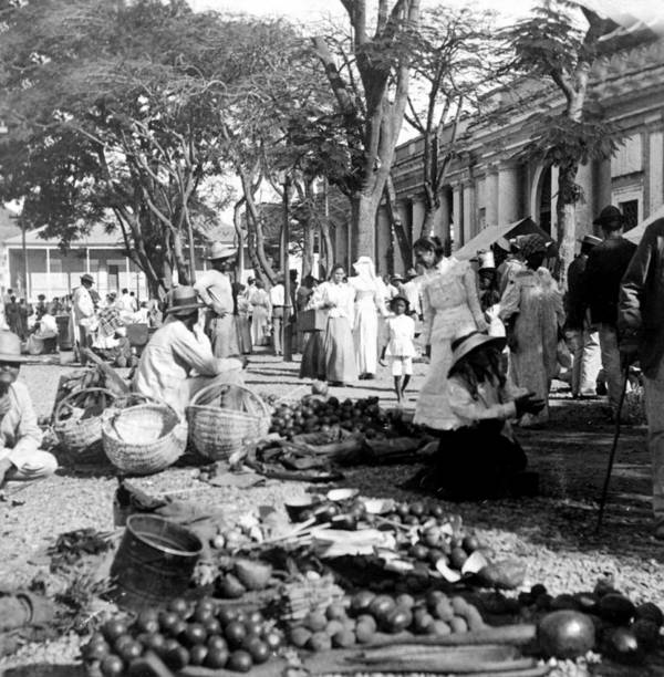 puerto Rico Art Print featuring the photograph Vintage Street Scene In Ponce - Puerto Rico - C 1899 by International Images