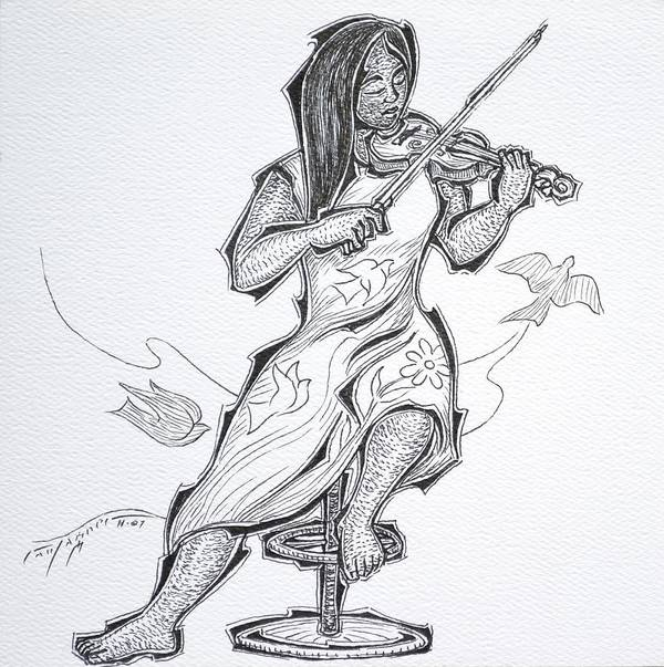 Violinist Art Print featuring the drawing Violinist by Raul Agner
