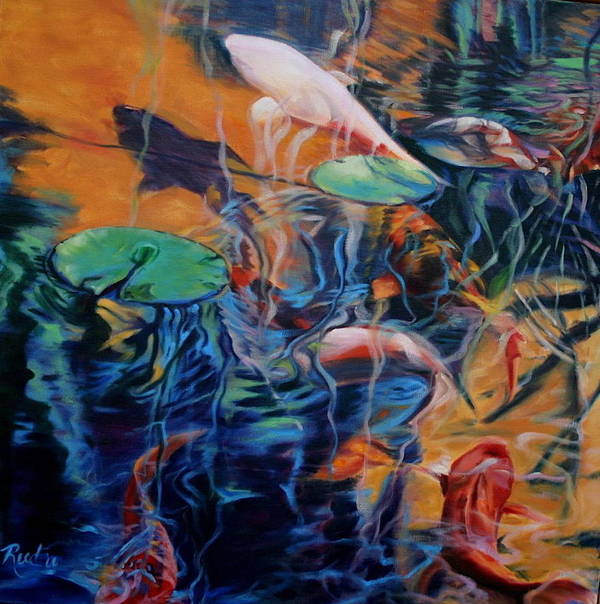 Koi. Water Art Print featuring the painting Water Garden Series B by Patricia Reed