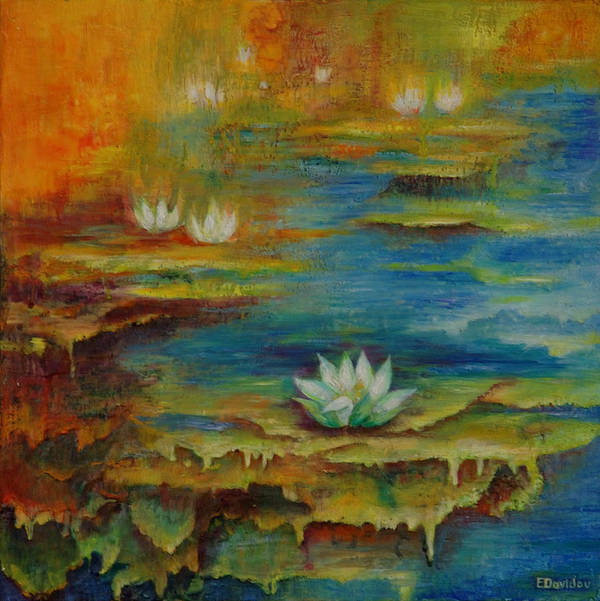 Water Art Print featuring the painting Water Lilies No 4. by Evgenia Davidov