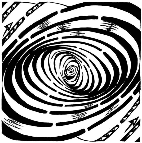 Wave Art Print featuring the drawing Wave Swirl Maze by Yonatan Frimer Maze Artist