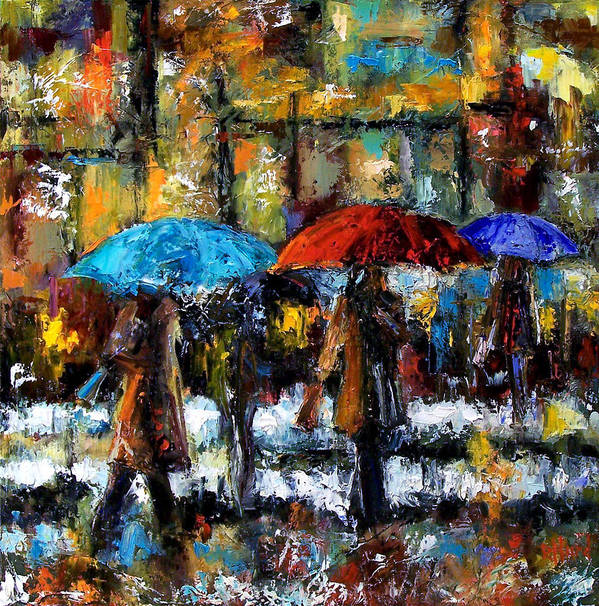Rainy City Art Art Print featuring the painting Wet Winter Day by Debra Hurd