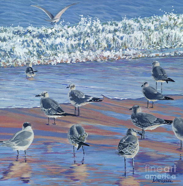 Beach Art Print featuring the painting Where Seagulls Play by Danielle Perry