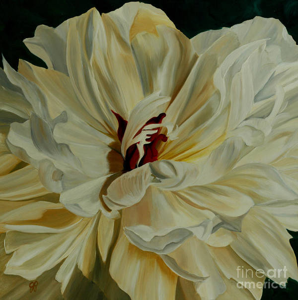 White Flower Art Print featuring the painting White Peony by Julie Pflanzer