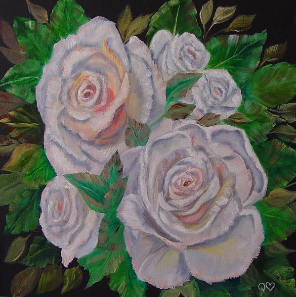 Roses Art Print featuring the painting White Roses by Quwatha Valentine
