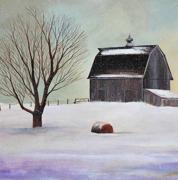 Barn Art Print featuring the painting Winter Barn II by Toni Grote