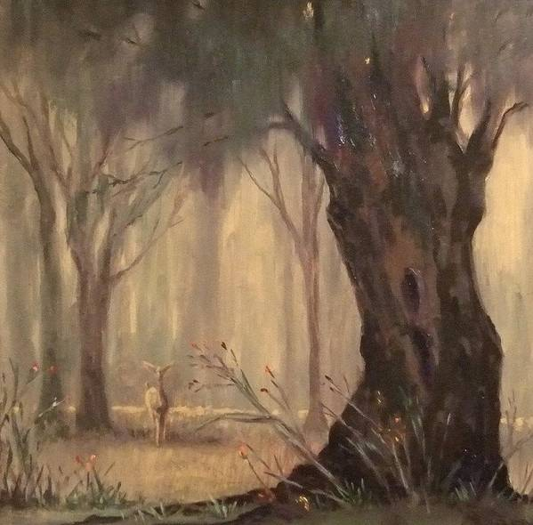 Landscape Art Print featuring the painting Woodland Fawn by Ruth Stromswold