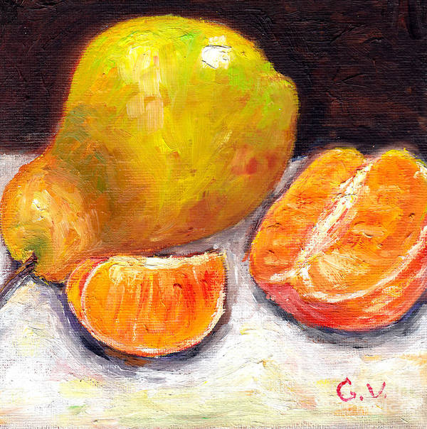 Still Life Art Print featuring the painting Yellow Pear With Tangerine Slices Grace Venditti Montreal Art by Grace Venditti