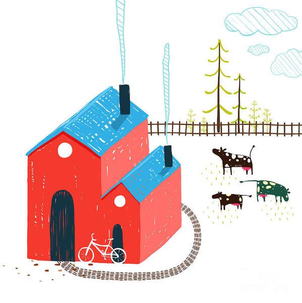 Small Art Print featuring the digital art Little Village House Rural Landscape by Popmarleo
