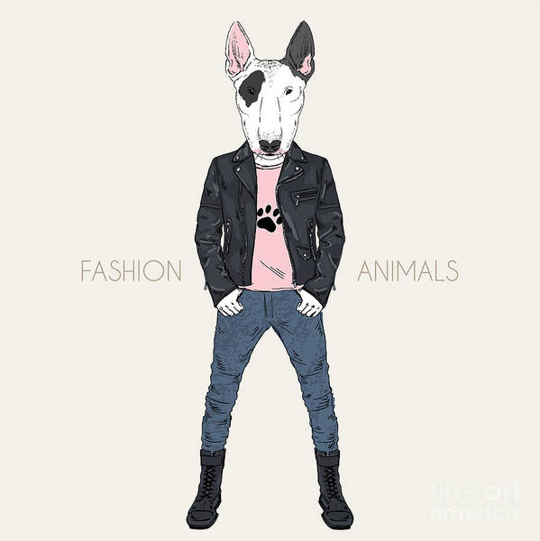 Fancy Art Print featuring the digital art Bull Terrier Doggy Dressed Up In Punk by Olga angelloz