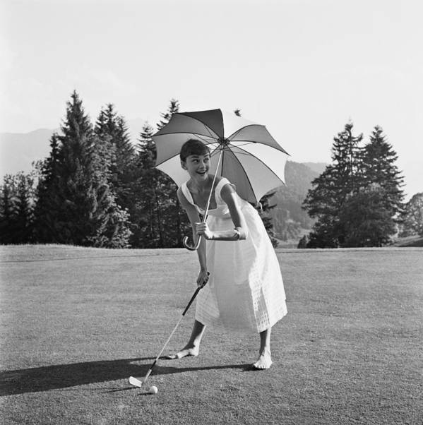 Belgium Art Print featuring the photograph Golfing Hepburn by Hulton Archive
