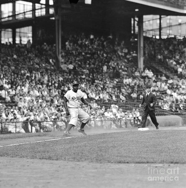 1950-1959 Art Print featuring the photograph Jackie Robinson At Ebbets Field, 1956 by Robert Riger