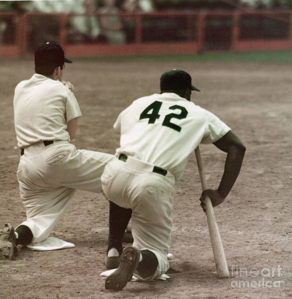1950-1959 Art Print featuring the photograph Jackie Robinson On Deck by Robert Riger