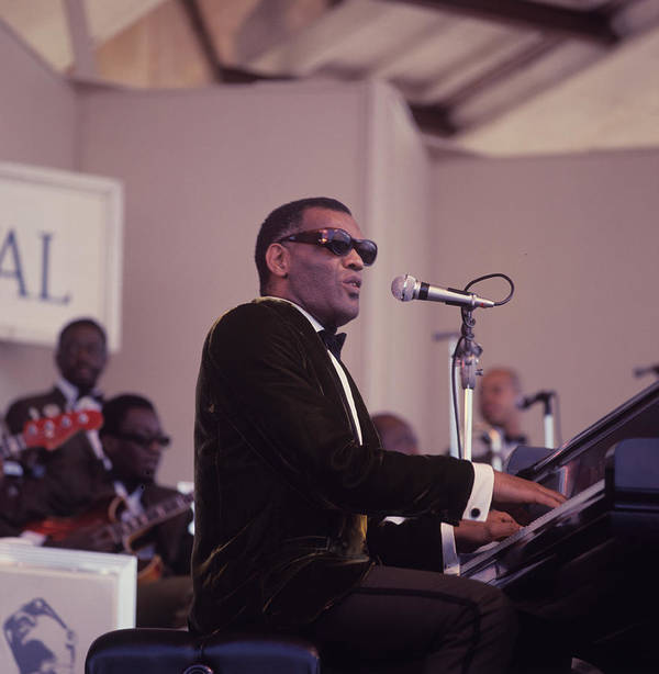 Singer Art Print featuring the photograph Ray Charles Performs At Newport by David Redfern