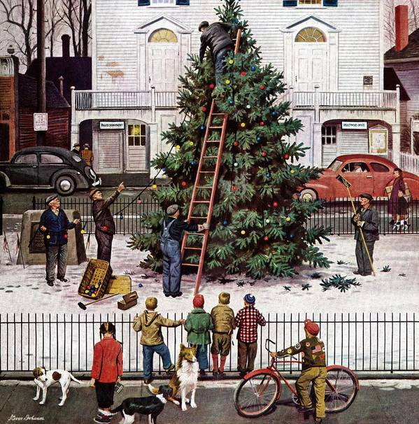 Christmas Art Print featuring the drawing Tree In Town Square by Stevan Dohanos