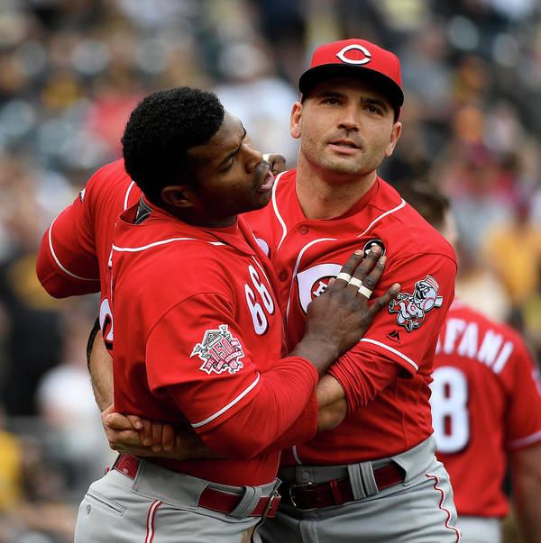 Three Quarter Length Art Print featuring the photograph Yasiel Puig And Joey Votto by Justin Berl
