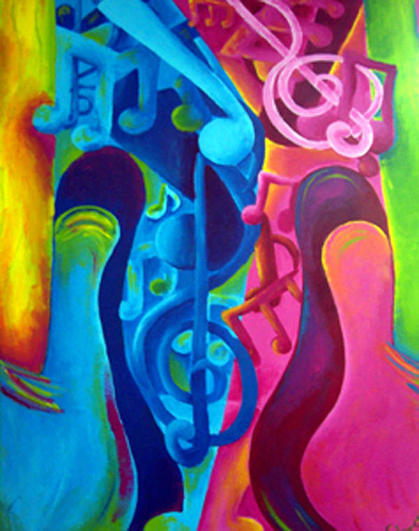 Vivid Contemporary Abstract Art Print featuring the painting Guitars by Shasta Miller