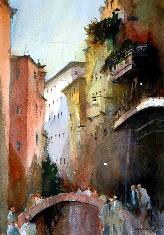 Venice Art Print featuring the painting On the Canal - Venice by Charles Rowland