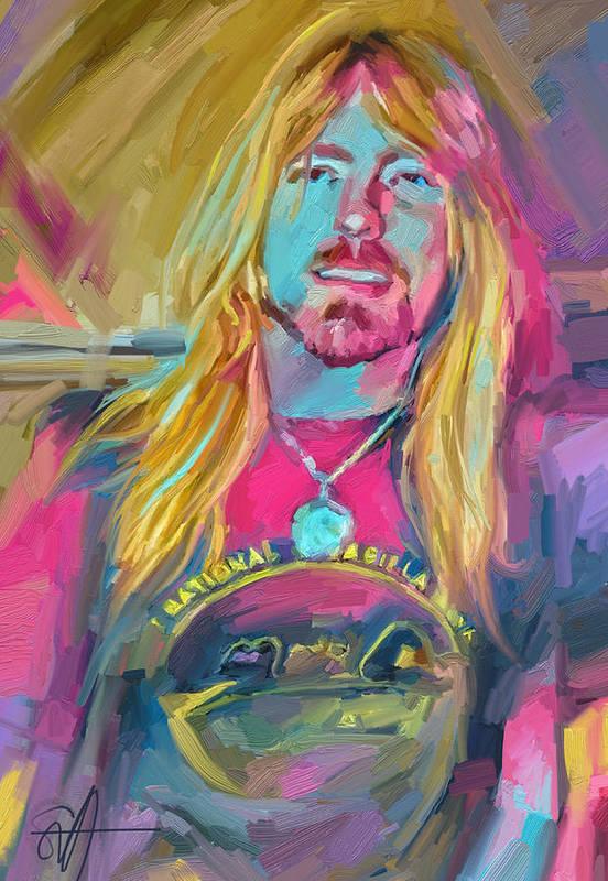 Gregg Allman Music Portrait Musician Rock Art Print featuring the digital art Gregg by Scott Waters