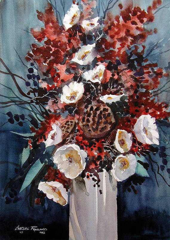Floral Art Print featuring the painting Floral by Charles Rowland