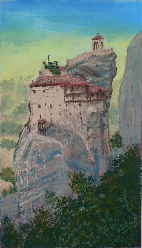 Landscape Art Print featuring the painting St Nicholas Anapapsas Monastery - Meteora - Greece by Dan Bozich