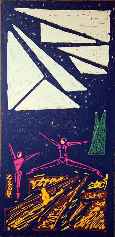 Dancers Art Print featuring the mixed media Dancing Under The Starry Skies by J R Seymour