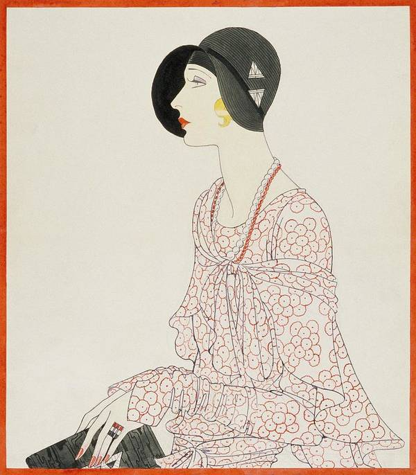 Fashion Art Print featuring the digital art A Woman Wearing A Reboux Hat by Douglas Pollard