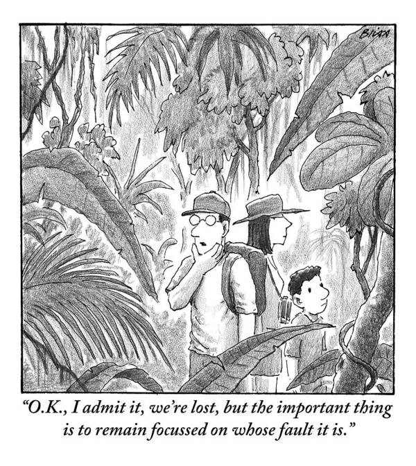 Lost Art Print featuring the drawing A Family Is Lost In The Depths Of A Jungle by Harry Bliss
