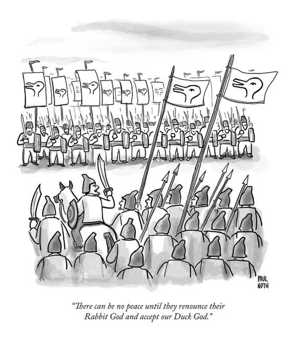 War Art Print featuring the drawing An Army Lines Up For Battle by Paul Noth