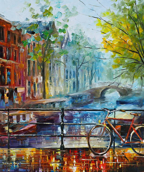 Amsterdam Art Print featuring the painting Bicycle in Amsterdam by Leonid Afremov