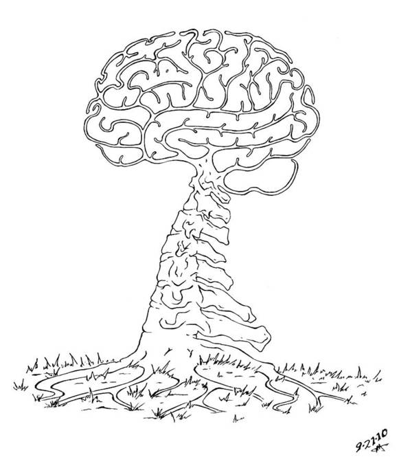 Brain Art Print featuring the drawing Brain Tree by Robert Fenwick May Jr