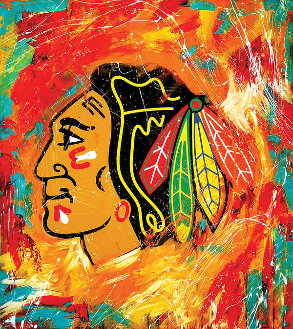 Sports Art Print featuring the painting Chicago Blackhawks logo by Elliott Aaron From