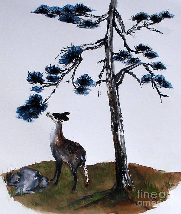 Blue Sky Art Print featuring the painting Deer And Pine by Sibby S