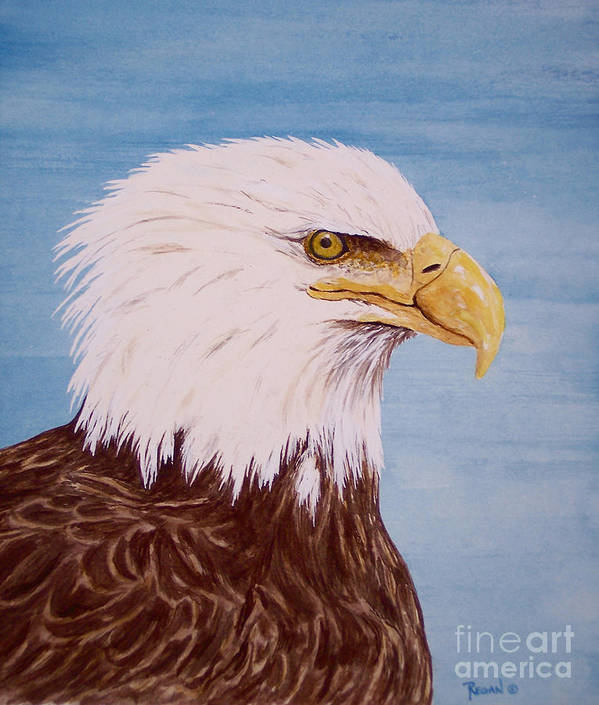 Eagle Art Print featuring the painting Eagle by Regan J Smith