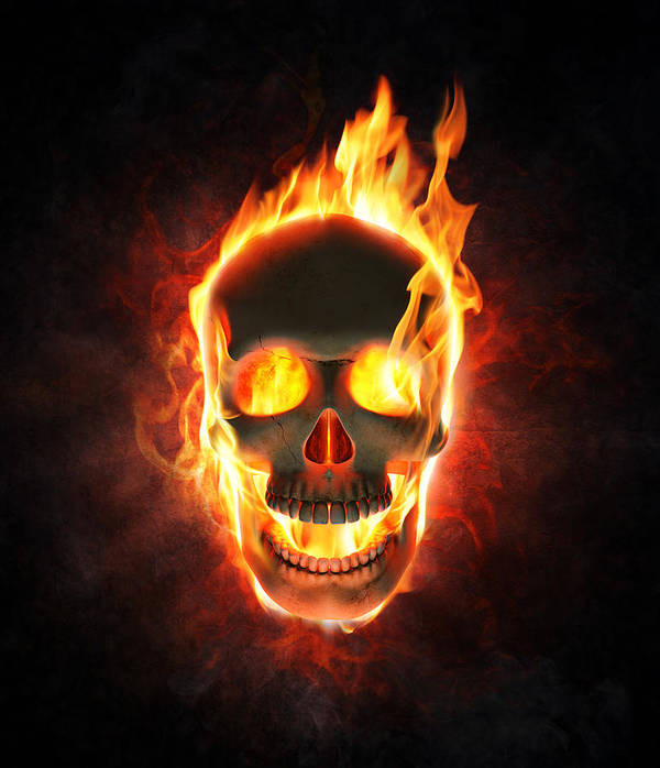 Skull Art Print featuring the photograph Evil skull in flames and smoke by Johan Swanepoel